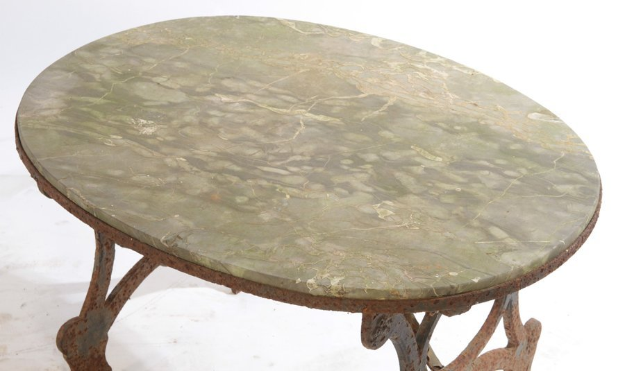WROUGHT IRON BENCH AND STONE TOP TABLE C.1950 - 4