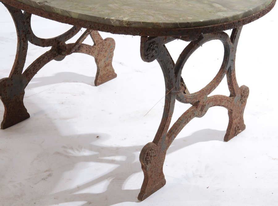 WROUGHT IRON BENCH AND STONE TOP TABLE C.1950 - 5