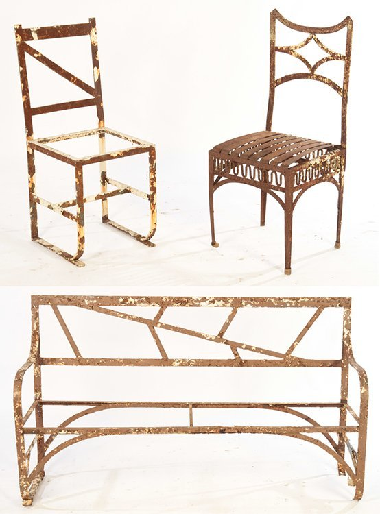 3 WROUGHT IRON GARDEN ITEMS 1 SOFA 2 CHAIRS C1940