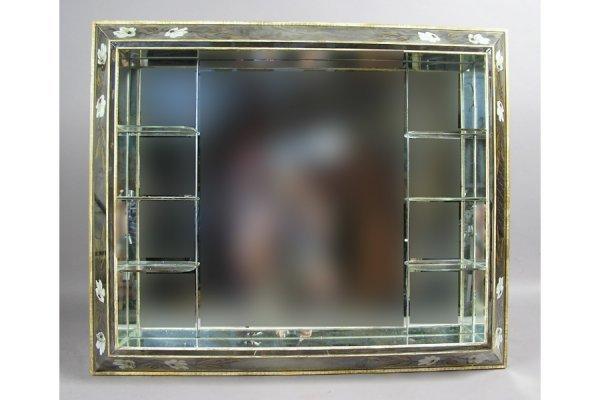 50181002: UNUSUAL MIRRORED WALL SHELF CIRCA 1950.