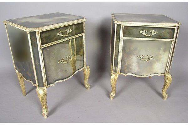 PR PNTD + SMOKED MIRRORED NIGHTSTANDS CABINETS END TAB