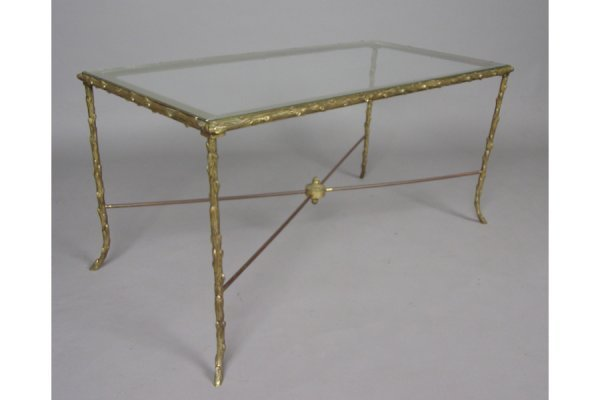 BRONZE  GLASS COFFEE TABLE  THE STYLE OF BAQUES