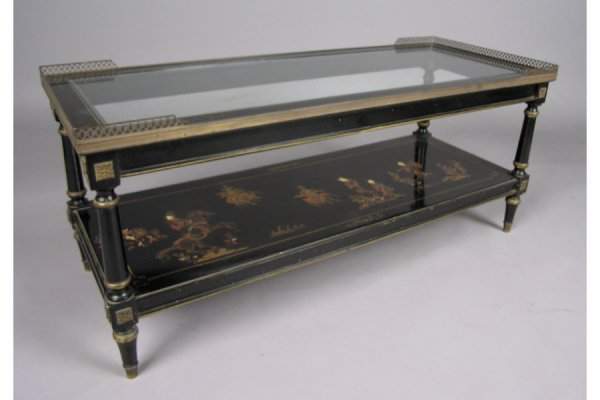 50181006: BLACK CHINOISERIE DECORATED COFFEE TABLE WITH