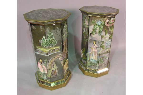 PR  DECORATED  MIRRORED NIGHT STANDS END TABLES CABINET
