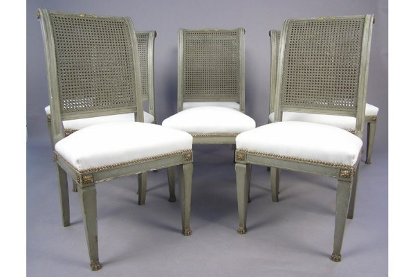 EIGHT HIGH BACK PAINTED  GILT DINING ROOM CHAIRS CHAIR