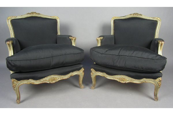 PAIR OF FRENCH CARVED PAINTED BERGERE WING  CHAIRS