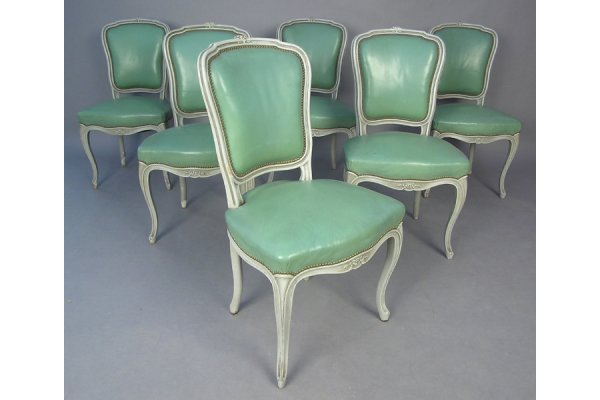 SIX LOUIS XV STYLE PAINTED SIDE CHAIRS DINING CHAIRS