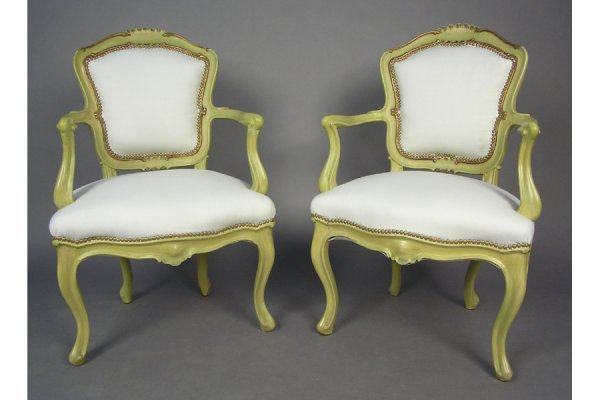 50181018: PAIR OF ITALIAN POLYCHROME OPEN ARM CHAIRS CI
