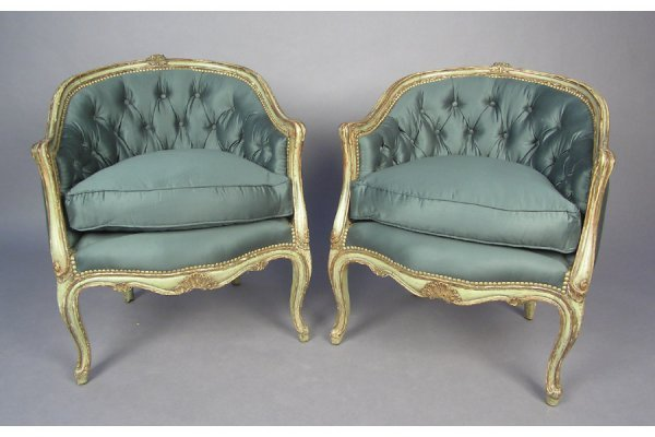 PR PAINTED BERGERE CHAIRS TUB CLUB CHAIRS IN THE LOUI