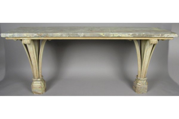 RARE DOCUMENTED JANSEN MARBLE TOP CONSOLE TABLE