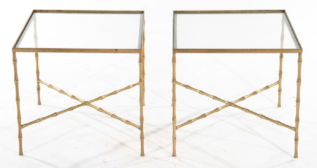 PAIR GLASS BRONZE FAUX BAMBOO SIDE TABLES C.1940