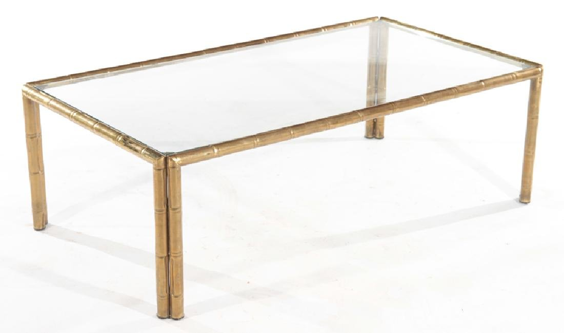 FAUX BAMBOO BRONZE COFFEE TABLE GLASS TOP C.1940