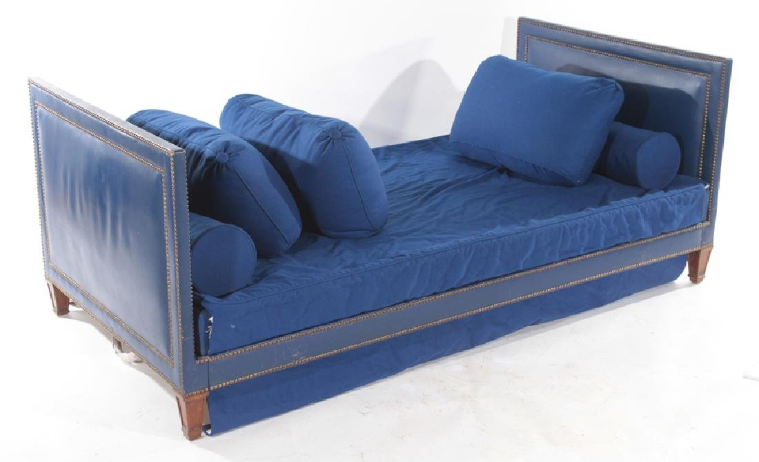 JEAN MICHEL FRANK MAHOGANY BLUE LEATHER DAY BED