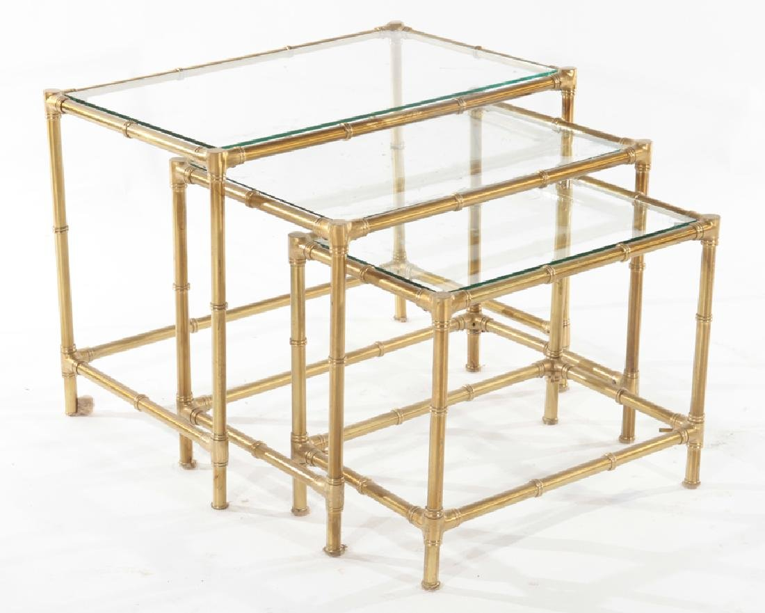 SET 3 BRASS GLASS FAUX BAMBOO NESTING TABLES 1960