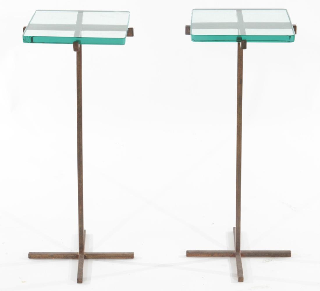 PAIR OF IRON AND GLASS SIDE TABLES CIRCA 1960