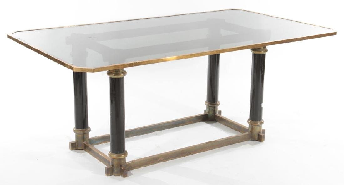UNUSUAL BRASS AND GLASS DINING ROOM TABLE C.1970