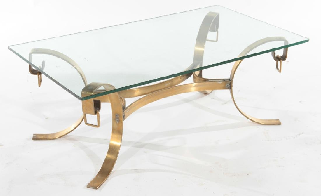 FRENCH BRONZE AND GLASS COFFEE TABLE C.1940