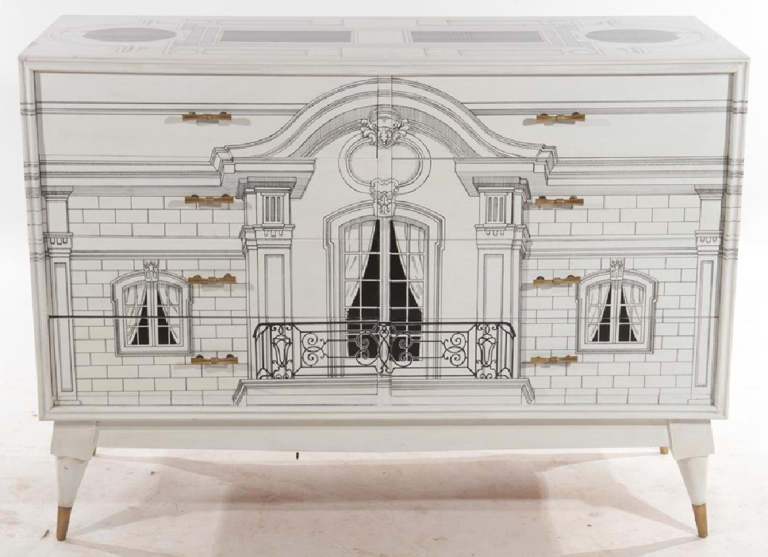 PAINTED FORNASETTI STYLE COMMODE CIRCA 1960