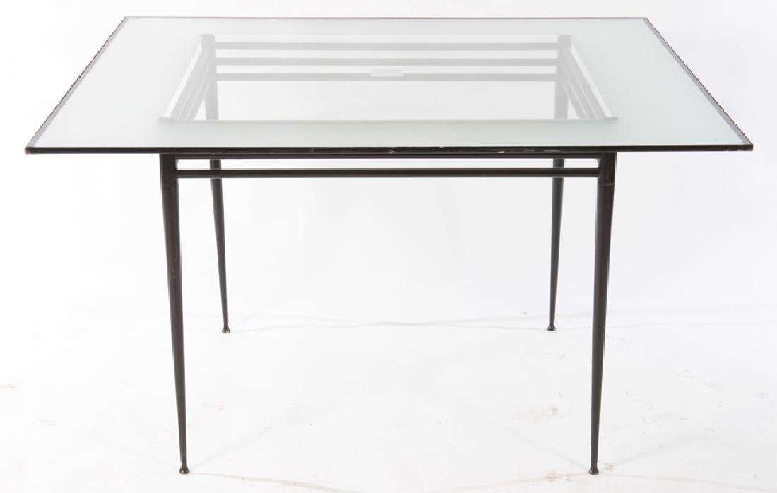 ITALIAN IRON & GLASS TABLE FROSTED BORDER 1950