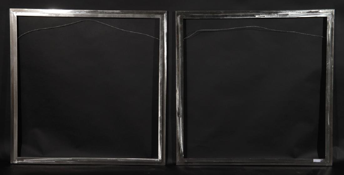PAIR SQUARE STEEL BEVELED GLASS MIRRORS