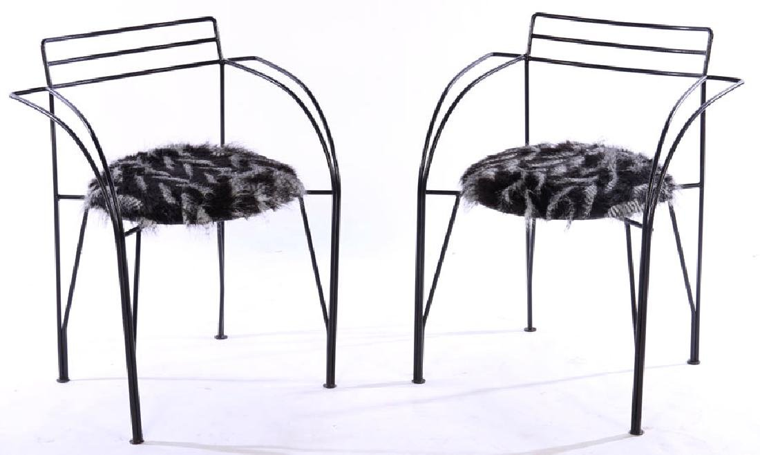 PAIR OF PASCAL MOURGUE WROUGHT IRON CHAIRS