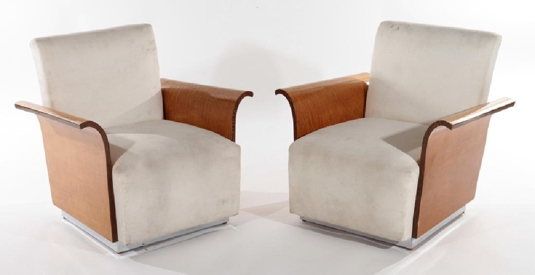 PAIR ART DECO TIGER MAPLE LOUNGE CHAIRS C.1940