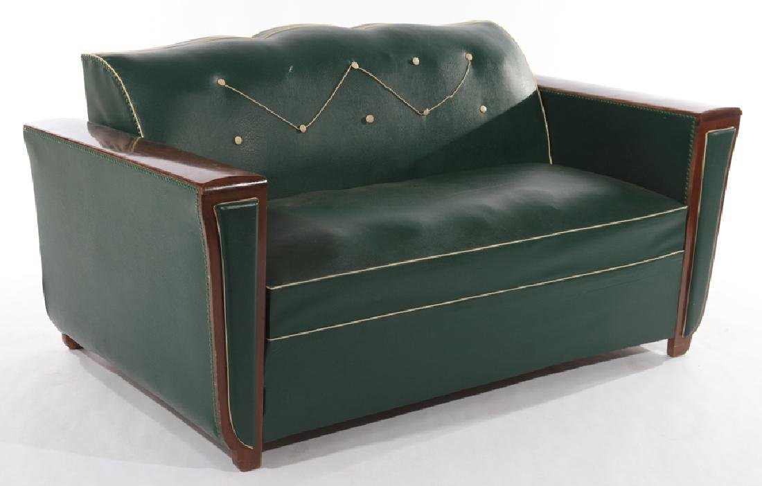 FRENCH ART DECO STYLE UPHOLSTERED SOFA BED C.1950