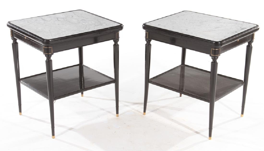 PAIR MARBLE TOP BRONZE MOUNTED SIDE TABLES JANSEN
