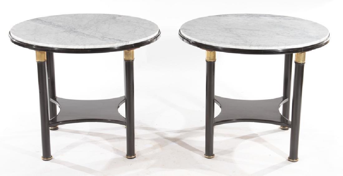 PAIR MARBLE TOP JANSEN SIDE TABLES CIRCA 1940