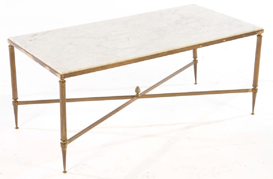 FRENCH MARBLE TOP BRONZE COFFEE TABLE BAGUES 1950