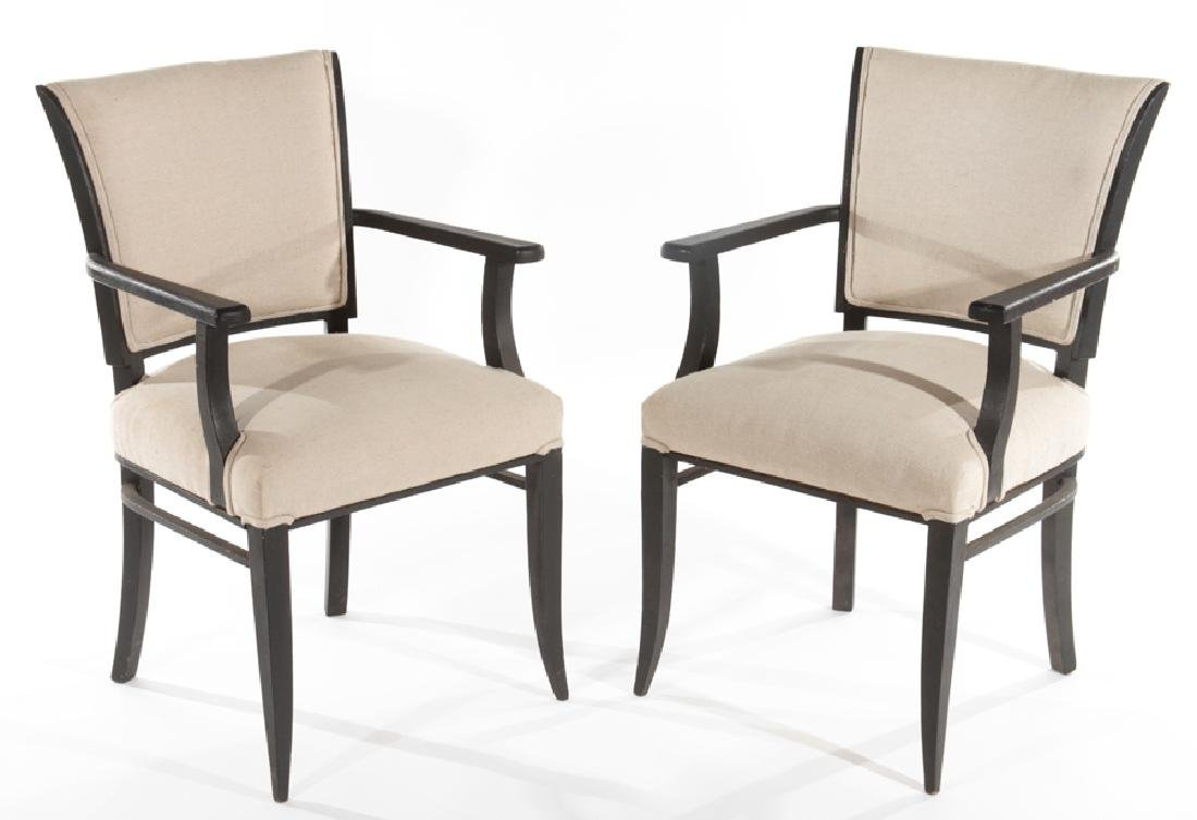 PAIR PAINTED FRENCH OPEN ARM CHAIRS C.1950