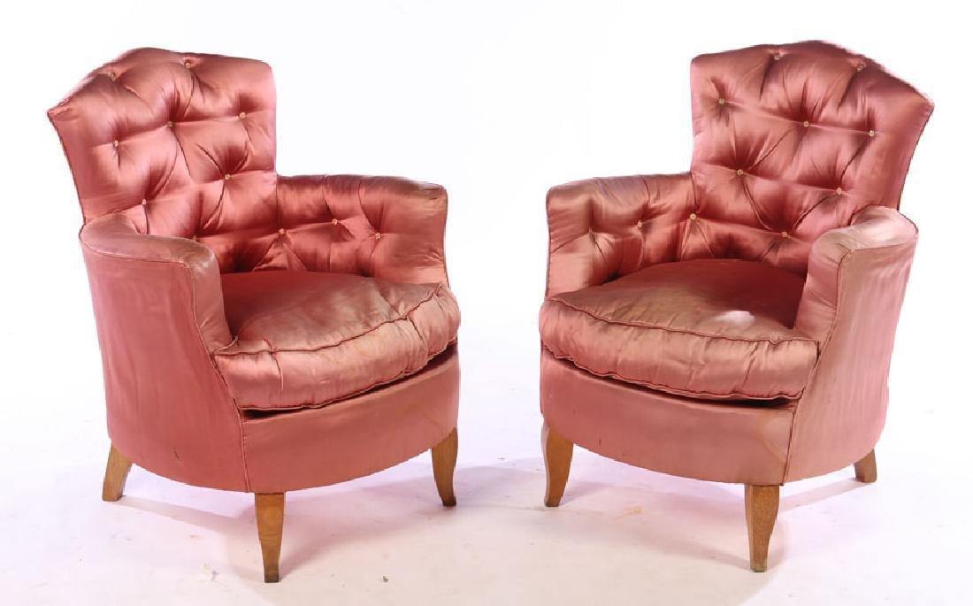 FRENCH UPHOLSTERED BOUDOIR CHAIRS ANDRE ARBUS