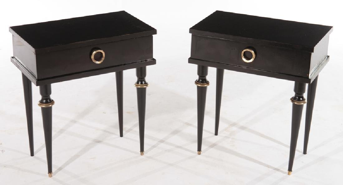 PAIR OF EBONIZED FRENCH NIGHT STANDS CIRCA 1950
