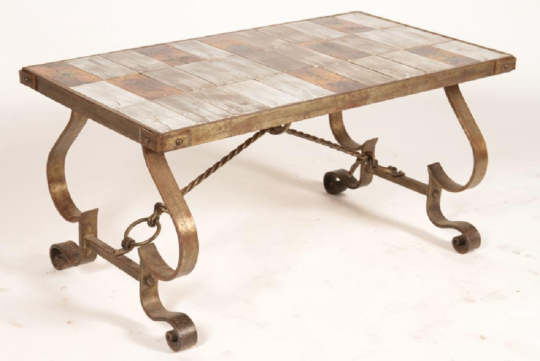 FRENCH WROUGHT IRON COFFEE TABLE CIRCA 1950