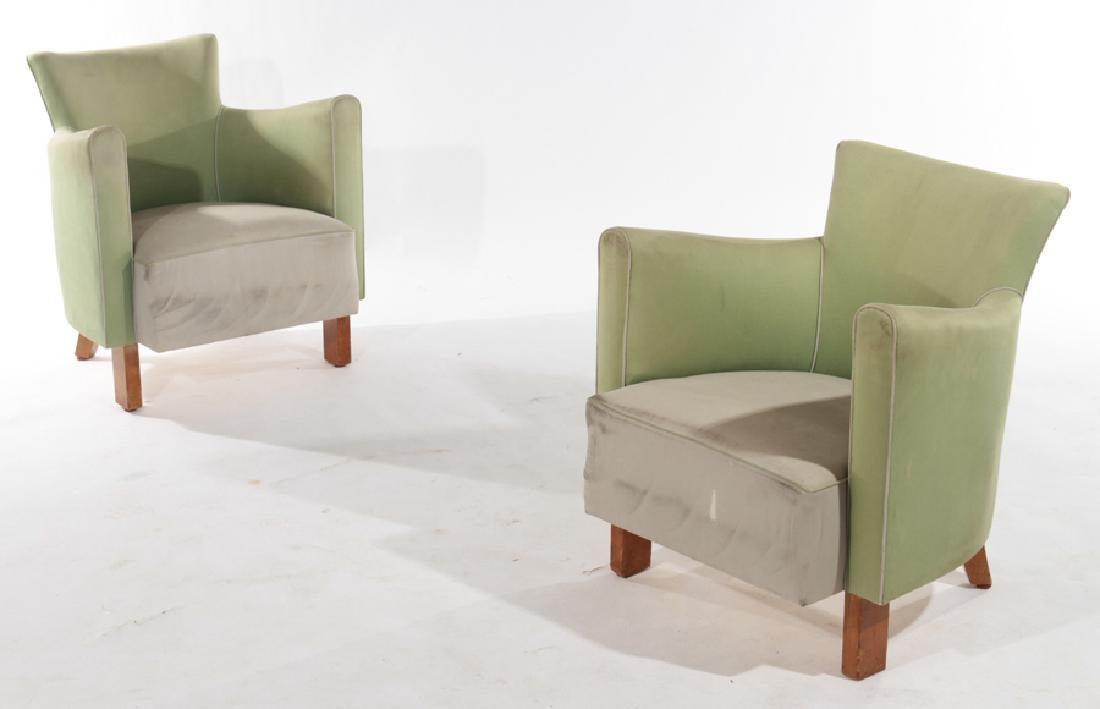 PAIR FRENCH MID CENTURY MODERN ARM CHAIRS C1960