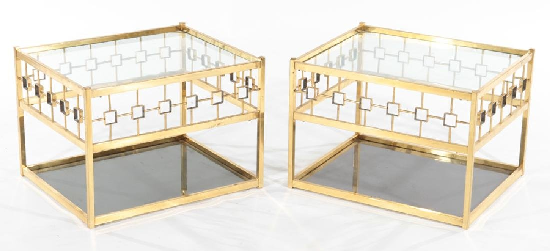 PAIR OF BRASS MODERN SIDE TABLES CIRCA 1970