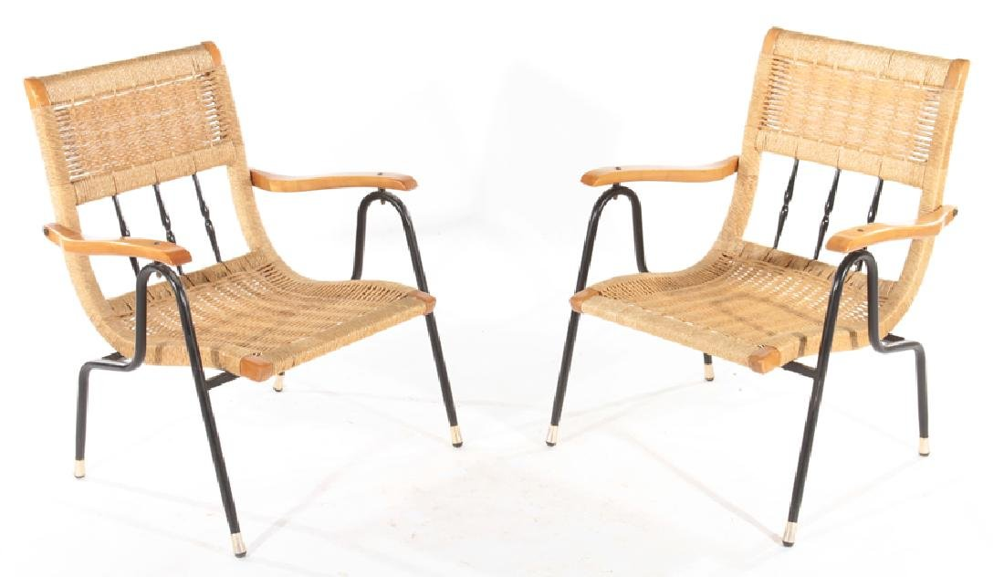 PAIR WOVEN RATTAN MAPLE OPEN ARM CHAIRS C.1960