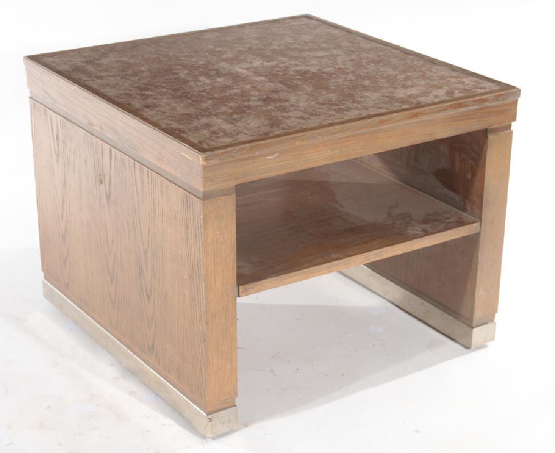 MID CENTURY MODERN CERUSED OAK SIDE TABLE C.1960