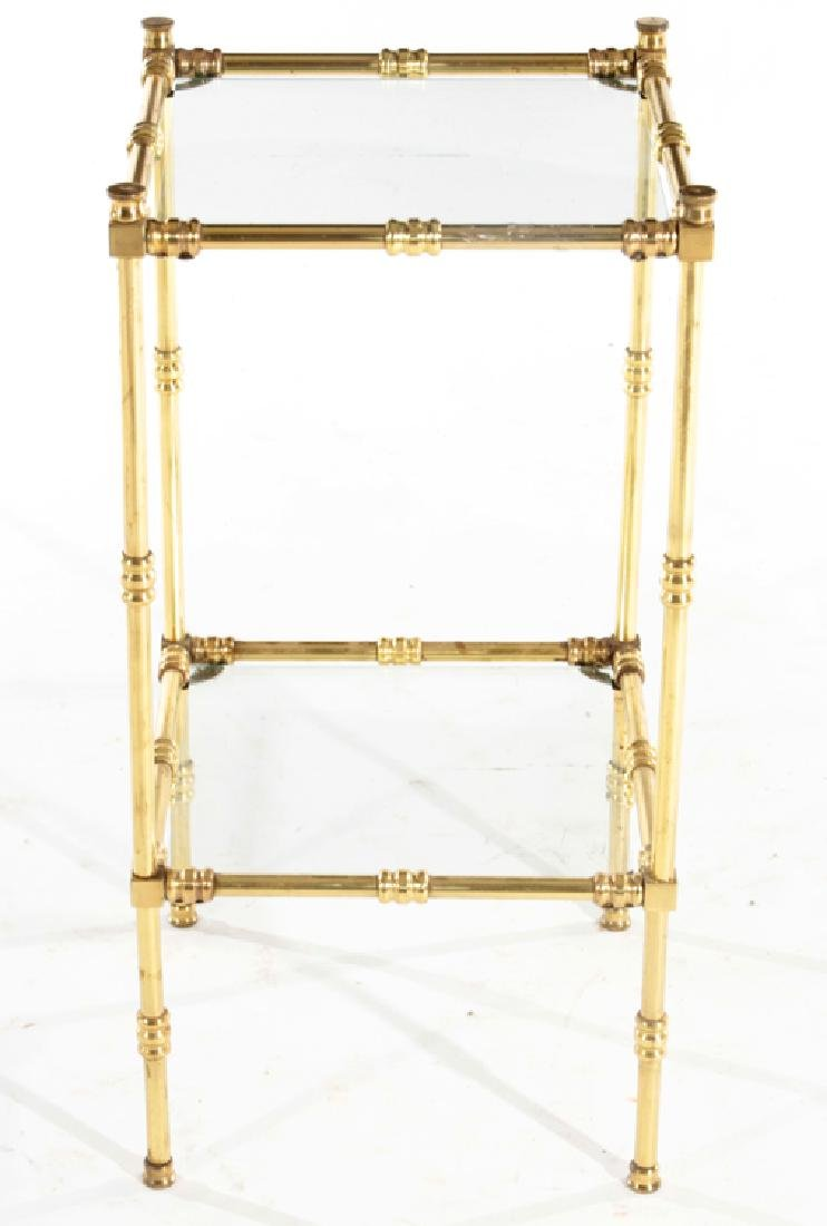BRASS AND GLASS FAUX BAMBOO SIDE TABLE C.1960
