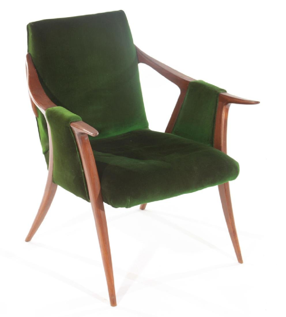 KAGAN STYLE ARM CHAIR GREEN VELVET CIRCA 1960