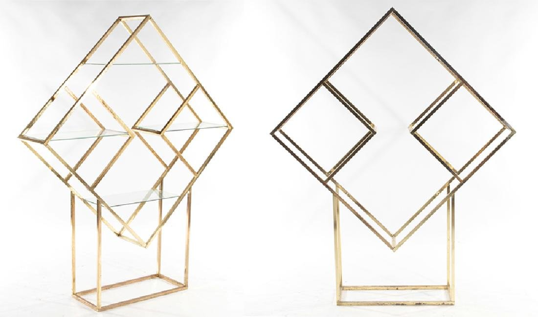 PAIR GEOMETRIC BRASS AND GLASS ETAGERES C.1970
