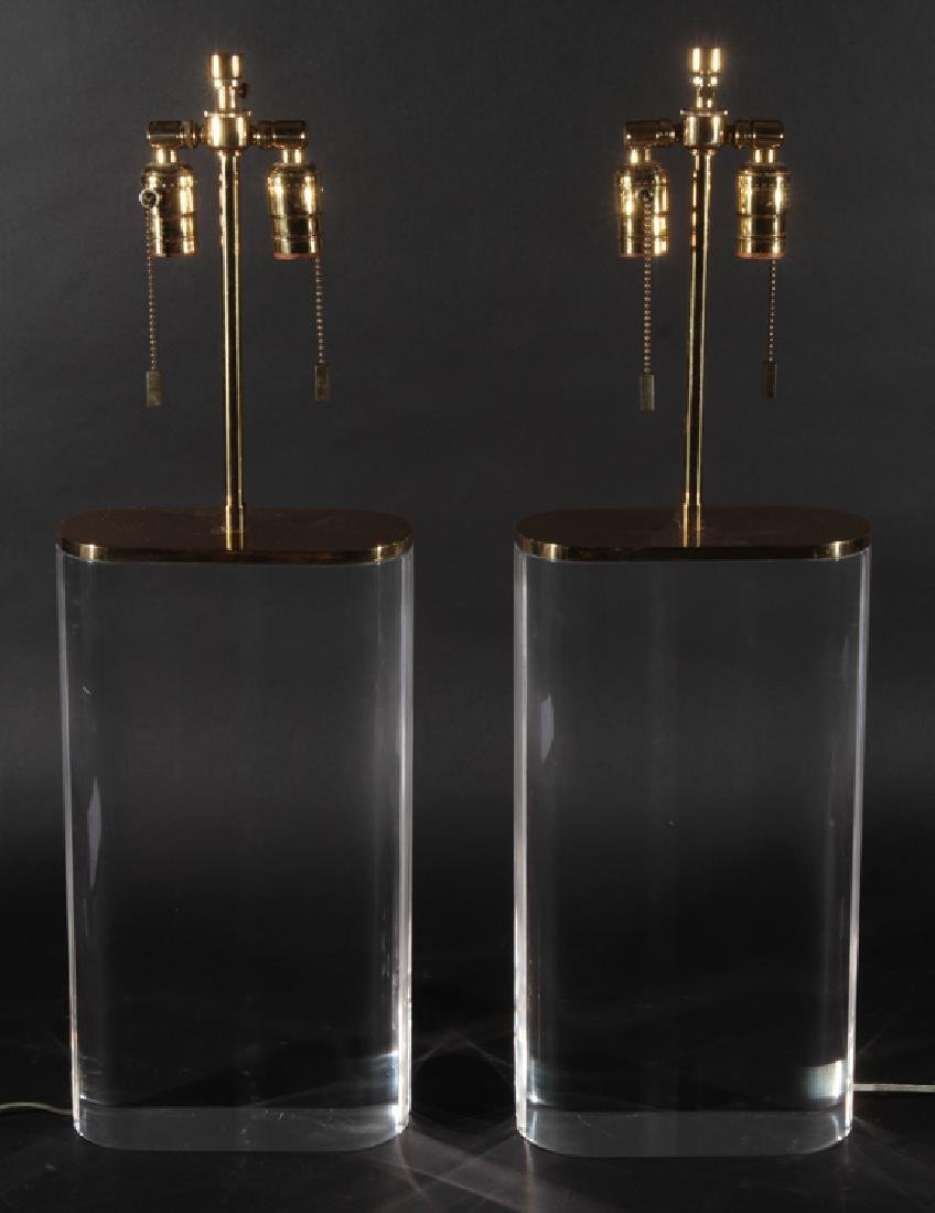 PAIR OF 2 ARM LUCITE AND BRASS TABLE LAMPS