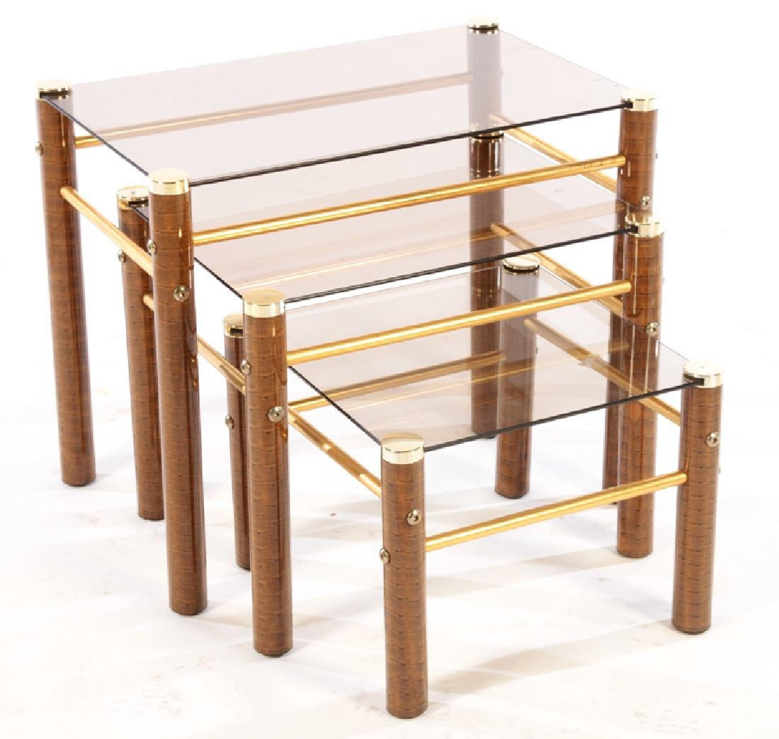 SET OF 3 METAL AND GLASS NESTING TABLES C.1970