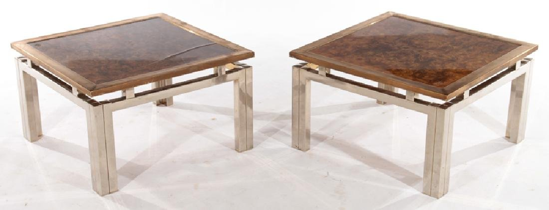 PAIR OF BURL WALNUT END TABLES C.1970