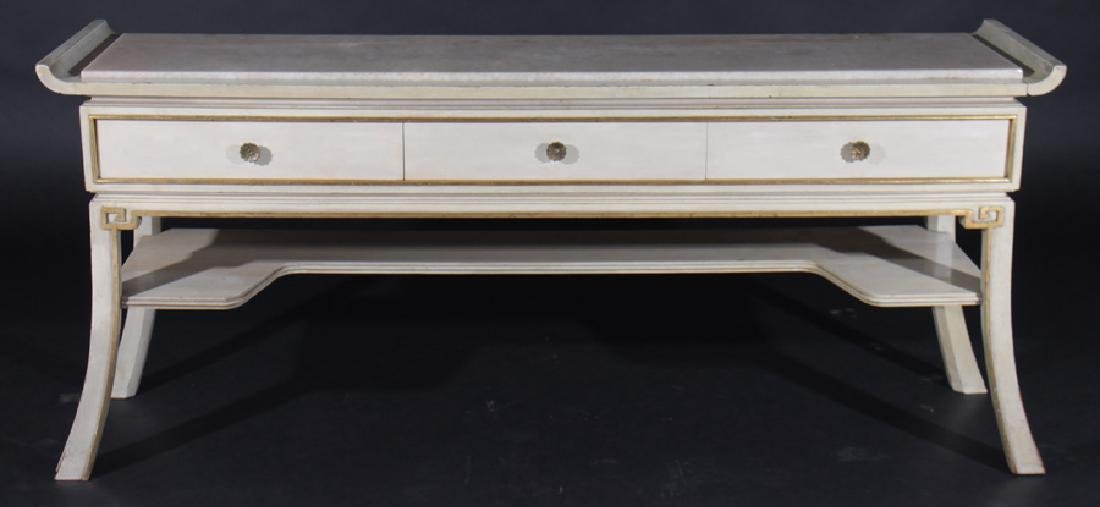 PAINTED GILT WOOD CONSOLE MARBLE TOP JAMES MONT
