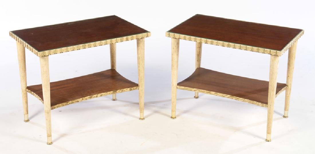 PAIR PAINTED MODERN SIDE TABLES JAMES MONT 1960