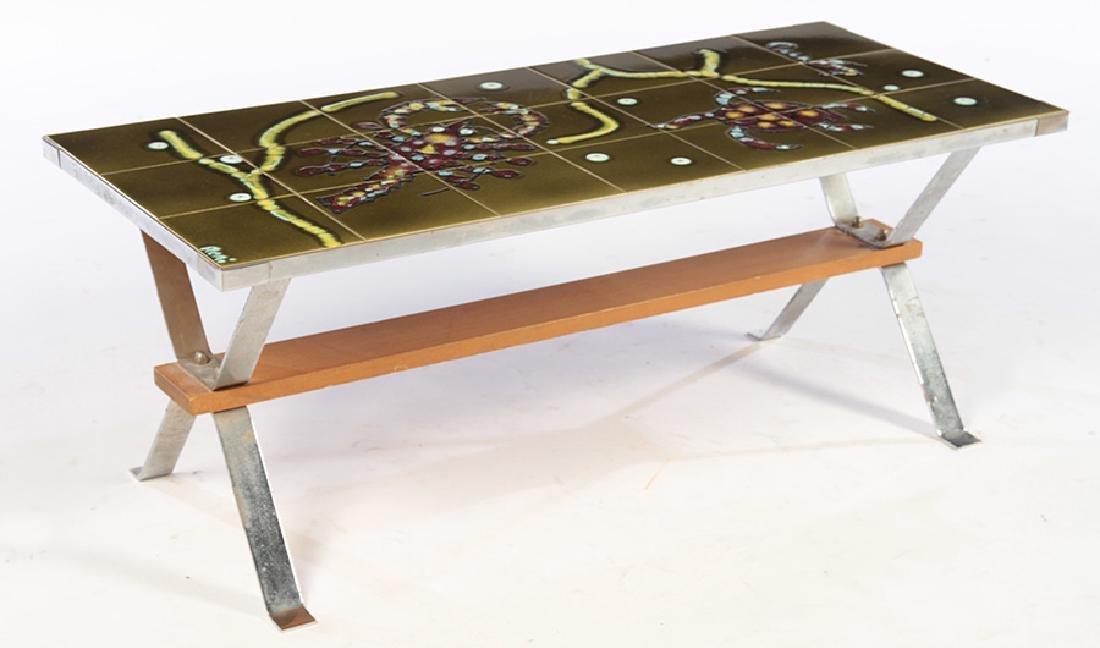 MID CENTURY MODERN TILE TOP COFFEE TABLE 1970