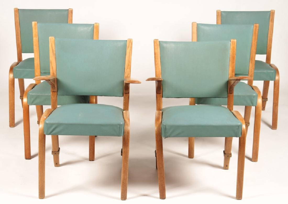 SET 6 FRENCH DINING CHAIRS FROM STEINER 1950
