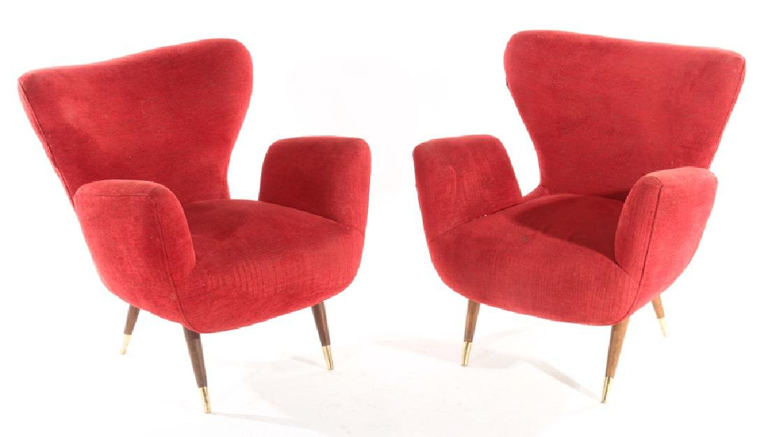 PAIR PAOLO BUFFA CLUB CHAIRS RED UPHOLSTERY C1950