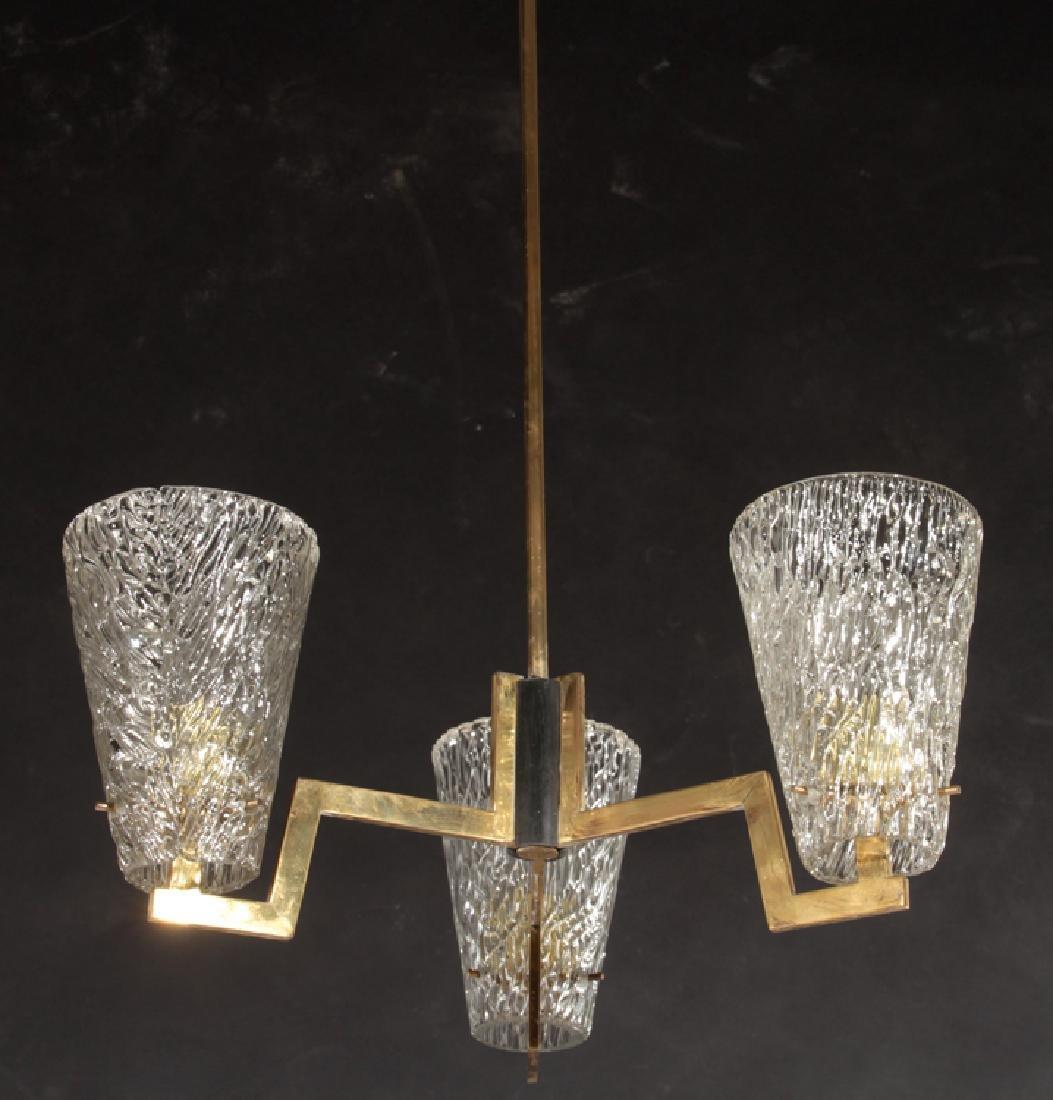 ITALIAN MODERN 3 ARM CHANDELIER GLASS SHADES 1970